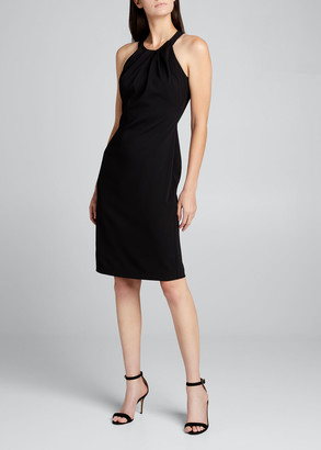Badgley Mischka Pleated Halter-Neck Sheath Dress