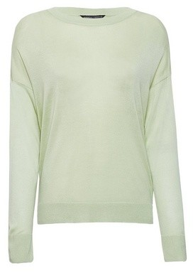 Dorothy Perkins Womens Green Fine Knit Crew Jumper, Green
