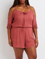 Charlotte Russe Plus Size Cold Shoulder Crochet-Trim Romper