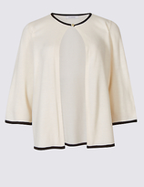 Classic Tipped 3/4 Sleeve Cardigan