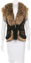 Roberto Cavalli Fur-Trimmed Patterned Vest w/ Tags