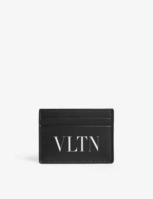 Valentino Logo leather card holder