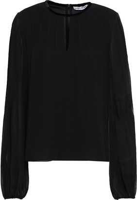 Elizabeth and James Velvet-trimmed Silk-chiffon Blouse