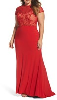 Mac Duggal Plus Size Women's Embellished Crochet & Jersey Gown