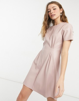 NA-KD faux leather pleated waist mini dress in dusty pink