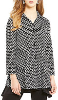 IC Collection Honeycomb Flat Collar Button Front Print Jacket