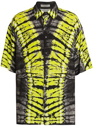 Valentino Short-Sleeve Pop Skin Tie-Dye Shirt