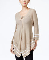 NY Collection Petite Lace-Up Striped Sweater