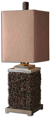 Uttermost Table Lamp, Knotted Rattan Rectangle