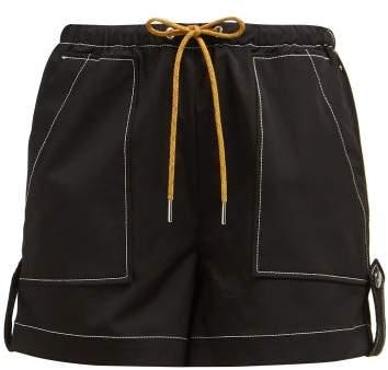 Ganni Cinnober Contrast Stitching Crepe Shorts - Womens - Black