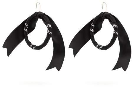 Balenciaga Silk Twill Hoop Earrings - Womens - Black