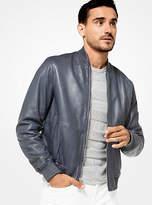 Michael Kors Washed Leather Bomber Jacket