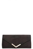 Quiz Black Faux Suede Clutch Bag