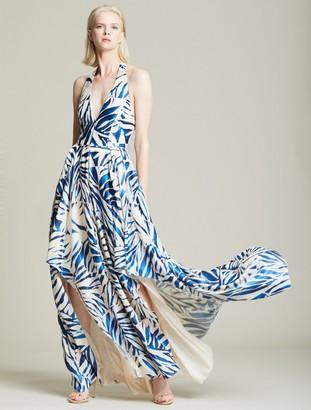 Halston Burnout Halter Gown