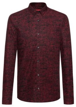 HUGO BOSS Extra Slim Fit Cotton Shirt With All Over Print - light pink