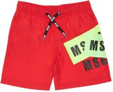 MSGM Logo Printed Nylon Shorts