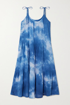 HONORINE Daisy Tie-dyed Crinkled Cotton-gauze Dress - Blue