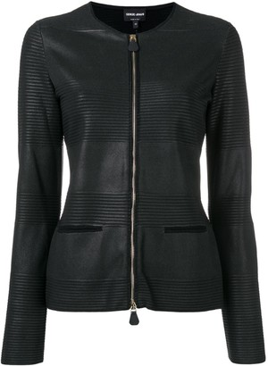 Giorgio Armani Textured Stripe Faux Leather Jacket