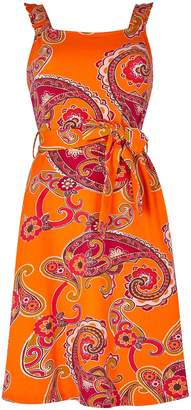 Dorothy Perkins Womens Orange Paisley Print Fit And Flare Dress, Orange