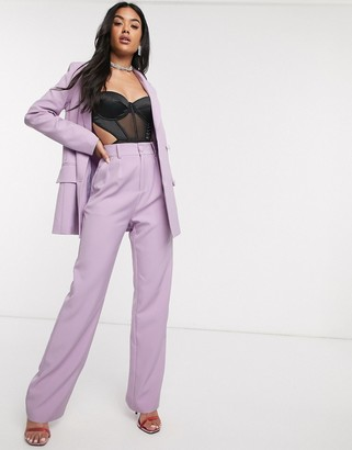 4th + Reckless wide leg suit pants in lilac