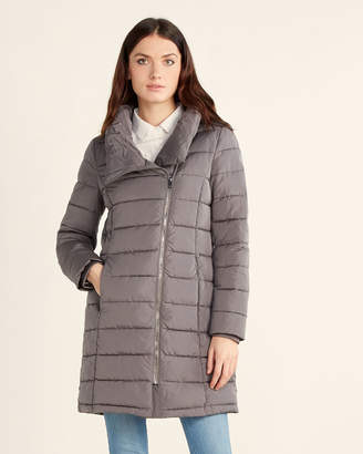 DKNY Asymmetrical Zip Puffer Coat