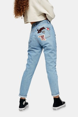 Topshop Womens Bleach Badge Pocket Mom Tapered Jeans - Bleach Stone
