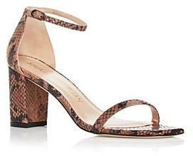 Stuart Weitzman Women's Amelina Snake Embossed Square Toe Block Heel Sandals