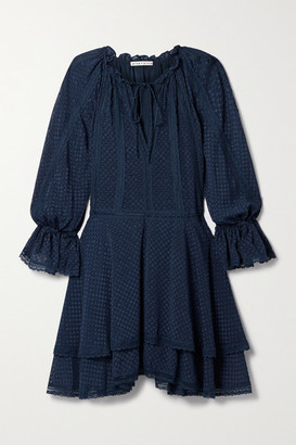 Alice + Olivia Joanne Crochet-trimmed Fil Coupe Chiffon Mini Dress - Navy