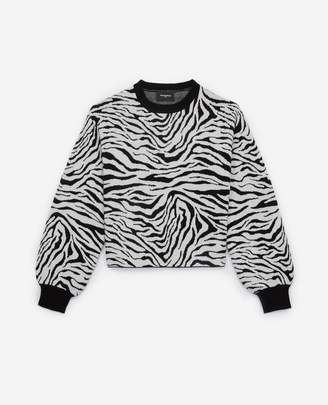 The Kooples White and black zebra-print sweater w/ribbing