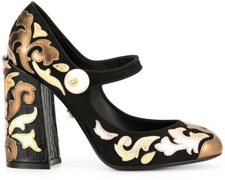 Dolce & Gabbana chunky-heel multi-patch pumps