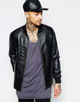 Asos Faux Leather Bomber Jacket With Croc Effect