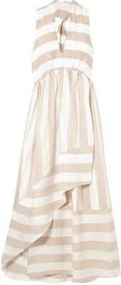 Paper London Wrap-effect Striped Woven Maxi Dress