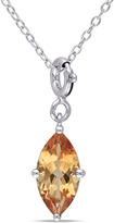 Julianna B 1 1/3 CT TW Citrine Sterling Silver Enhancer Solitaire Pendant Necklace