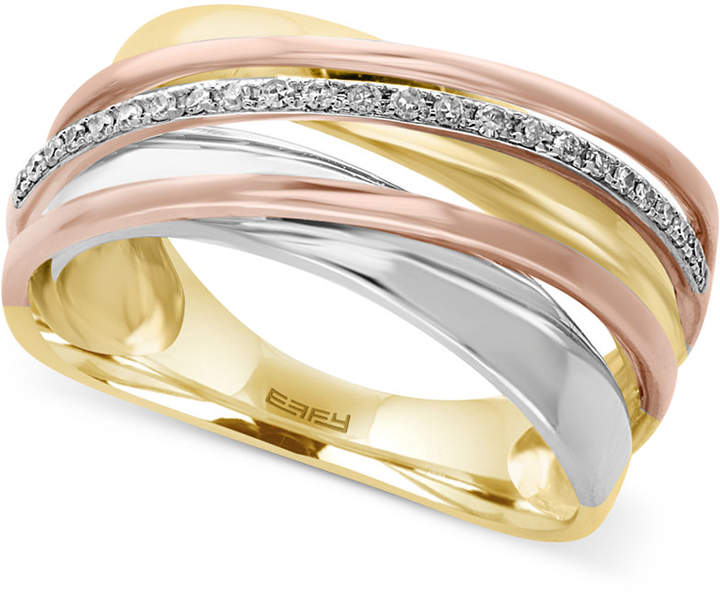 Effy Diamond Tri-Tone Ring (1/10 ct. t.w.) in 14k Yellow, White and Rose Gold