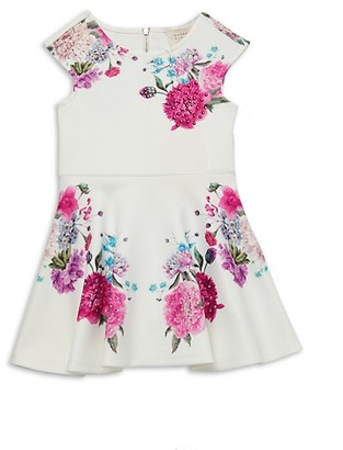 Hannah Banana Little Girl's Embellished Floral Fit--Flare Dress