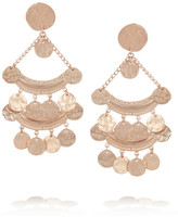Kenneth Jay Lane Hammered rose gold-plated clip earrings