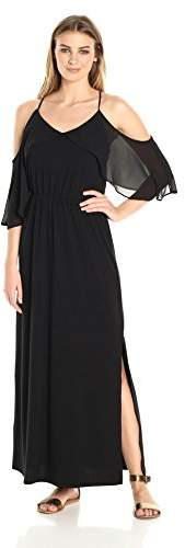 NY Collection Women's Sld Spaghetti Strap Halter Maxi Dress W Cold Shouder