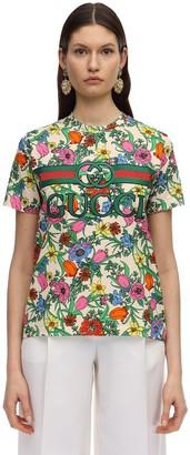 Gucci FLORA POP PRINT JERSEY T-SHIRT W/LOGO