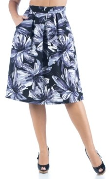 24seven Comfort Apparel Women's Plus Size Floral Print Knee Length Pocket Skirt