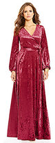 Gianni Bini Fan Fav Rotar Velvet Faux-Wrap Maxi Dress