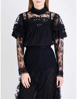 Anna Sui Ruffled floral-lace top