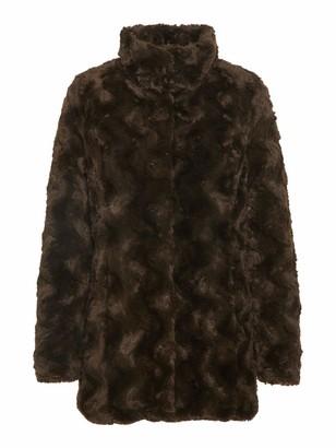 Vero Moda Women's Vmcurl High Neck Faux Fur Jacket Noos Ki Coat