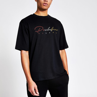 River Island Prolific black embroidered oversized T-shirt