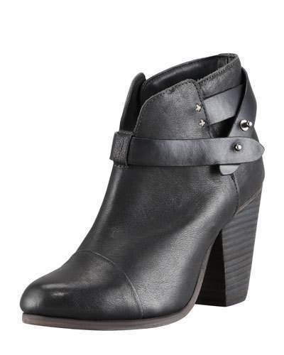 Rag & Bone Harrow Leather Ankle Boots, Black