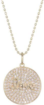 Sydney Evan 14K Yellow Gold & Pave Diamond Love Script Charm Necklace