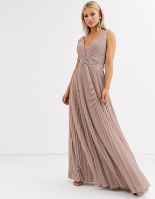 Forever Unique pleated plunge maxi dress in rose pink