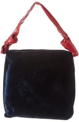 The Row Wander Small Velvet & Snake-Embossed Leather Shoulder Bag