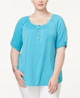 NY Collection Plus Size Elbow-Sleeve Henley Top