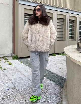 ASOS DESIGN faux fur contrast collared coat in brown
