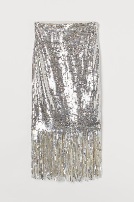 H&M Fringe-trimmed Sequined Skirt - Silver